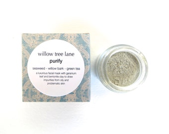 Purify Face Mask with Seaweed, White Willow, Green Tea and Geranium Leaf. Cleansing Grains, Clay Mask
