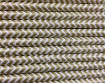 25 gold metallic Chevron Paper Straws for Parties,  Weddings, Baby Showers, Birthdays, Bar Mitzvah, Bat Mitzvah, Ice Cream Social