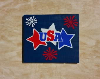 handmade wooden sign, wooden sign, USA sign, 4th of july sign, patriotic sign