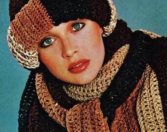 Roll Brim Hat and Skinny Scarves Vintage Crochet Pattern Download