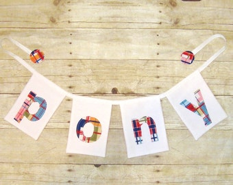 White Name Banner / Square flags / Square banner / White banner /Nursey  / Baby Shower / Fabric Bunting / Flags / Pennants / Bunting