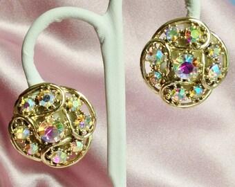 Aurora Borealis Rhinestone on Gold Earrings