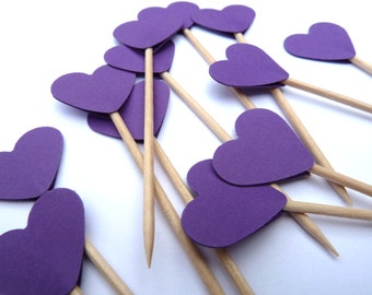 24 Hearts, Small Purple Toothpick Cupcake Toppers, Food Picks, Theme Party Picks, Ships in 3-5 Working Days