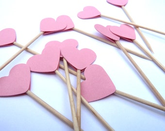 24 Light Pink Hearts Toothpick Cupcake Toppers, Food Picks, Theme Party Picks