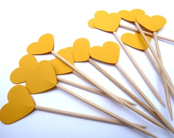 24 Yellow Hearts Toothpick Cupcake Toppers, Food Picks, Theme Party Picks, Ships in 3-5 Working Days