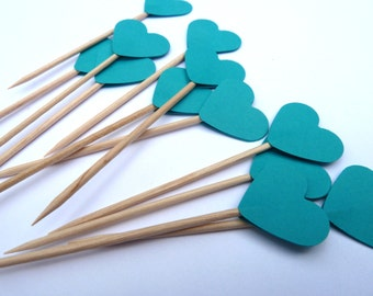 24 Teal Aqua Blue Hearts Toothpick Cupcake Toppers, Food Picks, Theme Party Picks, Ships in 3-5 Business Days