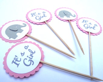 24 It's A Girl, Pink Baby Elephant Gray, Gender Reveal, Baby Shower Toothpick Cupcake Toppers, Food Picks, Ships in 3-5 Business Days