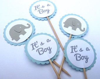 24 Elephant, It's A Boy, Baby Shower, Blue Gray, Toothpick Cupcake Toppers, Food Picks, Theme Party Picks, Ships in 3-5 Business Days