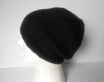 Black Slouchy Hat, Men's slouchy beanie, Beanies for Guys, Hand knitted hat, mens winter accessory, Ready to ship, Irish knit hat