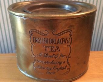 Vintage Brass English Breakfast Tea Tin