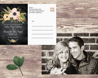 Save The Date Postcard, Postcard Save the Date, Photograph Save the Date, Custom Personalized, Engagement Announcement Card - Atlanta