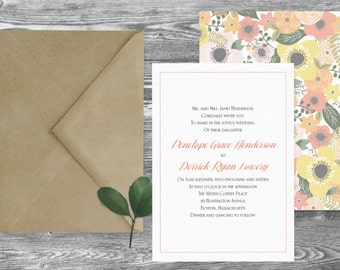 The Boston Wedding Invitation and RSVP Set // Custom Personalized // Invite Card Suite