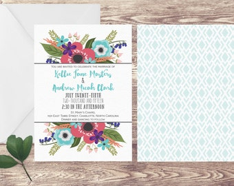 The Charlotte Wedding Invitation and RSVP Set, Spring Wedding Invitation, Spring Flowers Invitation, Floral Wedding Invitation