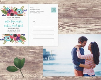 Printed Save The Date Postcard, Floral Postcard Save the Date, Photograph Save the Date, Spring Save the Date Postcard - Charlotte
