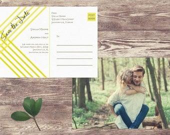 Save The Date Postcard, Postcard Save the Date, Photograph Save the Date, Geometric Save the Date Postcard, Art Deco Save the Date Card