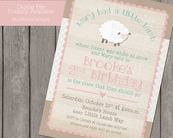 Mary Had a Little Lamb girl birthday party invitation, first birthday invitation, second birthday, shabby, nursery rhyme, pink, turquoise