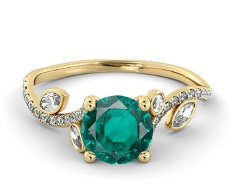 2.00 CT Natural 7MM Leef Green Emerald Filigree Engagement Ring 14k Yellow Gold Large Emerald Ring