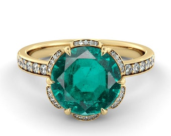 2.00 CT Natural 7MM Flower Green Emerald Filigree Engagement Ring 14k Yellow Gold Large Emerald Ring