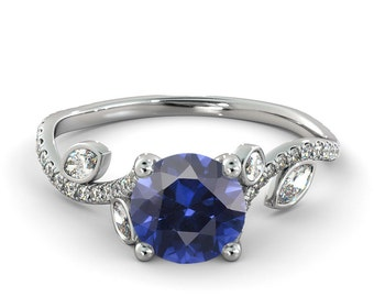 2.00 CT Natural 7MM Leef Purple Sapphire Filigree Engagement Ring 14k White Gold Large Sapphire Ring