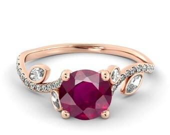 2.00 CT Natural 7MM Leef Ruby Filigree Engagement Ring 14k Rose Gold Large Ruby Ring