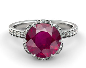 2.00 CT Natural 7MM Flower Ruby Filigree Engagement Ring 14k White Gold Large Ruby Ring