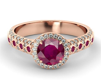 2.00 CT Natural 7MM Halo Ruby Filigree Engagement Ring 14k Rose Gold Large Ruby Ring