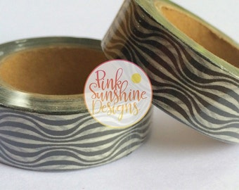 Black and White Waves Washi Tape 15mm