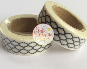 White with Black Moroccan Washi Tape 15mm