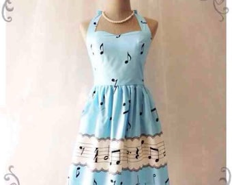 Vintage inspired rockabilly music Note Dress