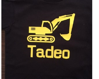 Personalized Digger construction vehicle  truck / tee shirt  t-shirt / shirt for boy - any size from toddler to youth (more colors)