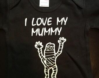 I love my Mummy baby shirt, infant mummy baby one piece, mummy baby clothes, mummy baby clothing, mummy baby gift, mummy baby boy