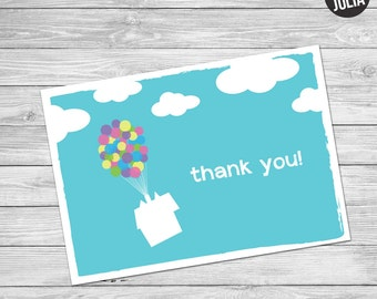 Disney UP themed Thank You Card - Instant Download!