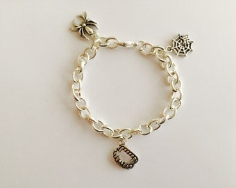 Things That Go Bump in the Night silver plated chain link charm bracelet