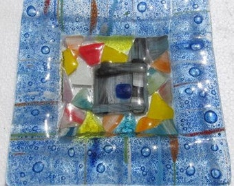Fused Glass Multi-Colored Murano Style Triangle Glass Display Ashtray