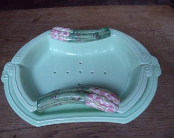 french majolica asparagus platter from Silea , Paris , 60's , perfect condition