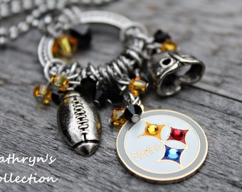 Pittsburgh Steelers Necklace, Steelers Necklace, Steelers Jewelry, Football Jewelry
