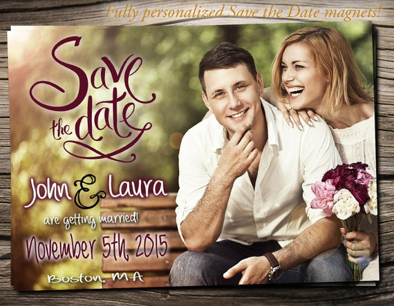 """Save The Date Magnet 5""""x7"""", Save The Date Announcement, Wedding / Engagement - S001"""