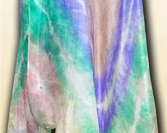 uzbek handmade natural pure silk woman's shawl scarf kaygali  tie-dye tech v3404