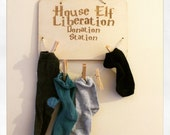 Harry Potter Inspired Dobby House Elf Liberation Donation Station Odd Sock Hanger Wooden Board