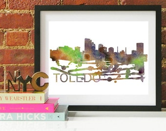 Toledo Ohio Art, Toledo Ohio, Toledo Ohio Wall Art, Toledo Ohio Skyline, Toledo Ohio Map, Toledo Ohio Print, Ohio Art Print, Ohio Art