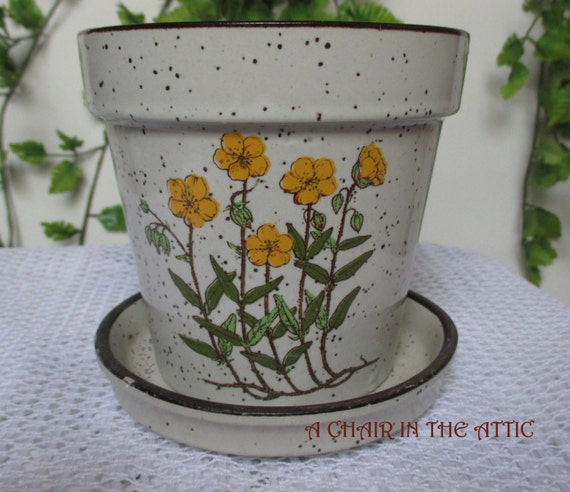 Vintage Yellow Poppies Flower Pot And Matching Saucer