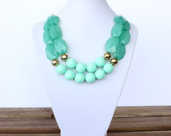 Mint Statement Necklace- Aqua Statement Necklace-Bib Necklace-Gold Statement Necklace