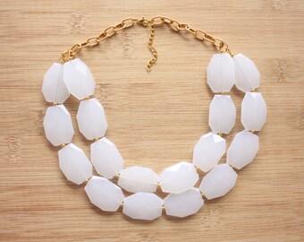 Translucent White Statement Necklace- White Statement Necklace-Bib Necklace-Gold Statement Necklace- Layered Statement Necklace