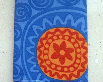 Fabric Covered Notebook, Diary or a Journal. Fits A5 Notebook. Reusable. 100% Cotton Blue and Orange. Fully Lined. For Teacher, Student.