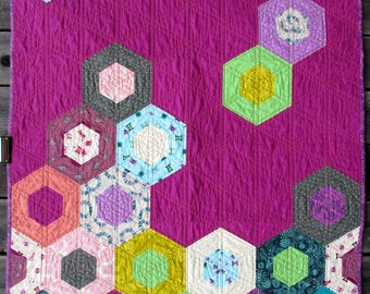 Crib Quilt | Toddler Girl Quilt | Handmade Quilt | Modern Quilt | Modern Throw | Geometric Quilt