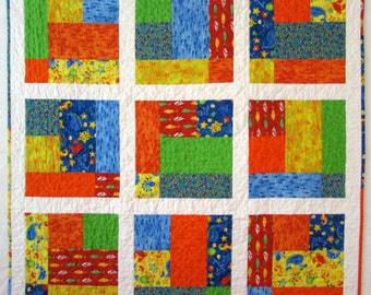 Baby Quilt | Toddler Quilt | Fish Quilt | Bright Colors Child Quilt | Baby Gift | Crib Quilt | Handmade Quilt