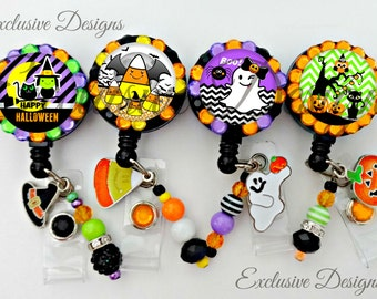 4 pack Retractable ID Badge Reel, Halloween Badge Reel, ID Nurse Badge Reel, Halloween, choose your design or 4 pack (E100)