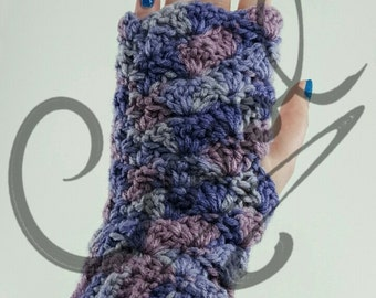 Crochet Shell Finger-less Gloves PDF Pattern