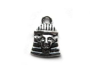 10 Silver Pharoah Charms - Egyptian Mask Charm