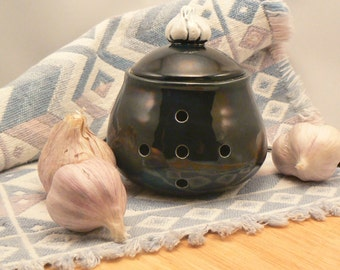Ceramic Garlic Jar in Iridescent  Black with Garlic Bulb Knob Handmade